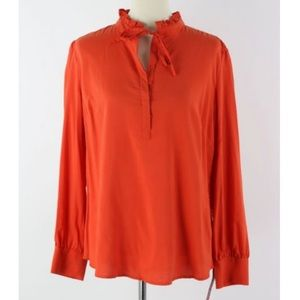 Merona Ruffle Neck Tie Orange Blouse